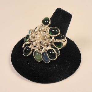 Jewelry - Real Gemstone Cluster Ring Jade Topaz Aquamarine +